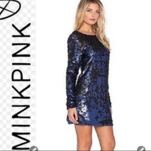 MinkPink Navy/Royal Blue Sequin Dress Medium